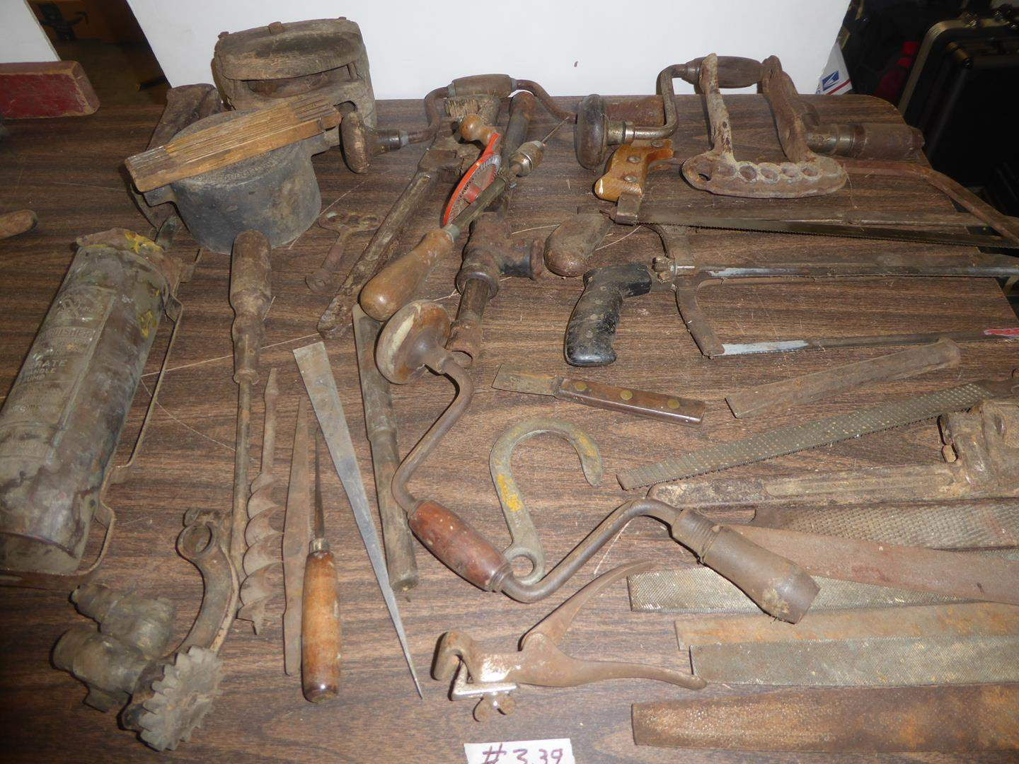 Lot # 339 - Vintage Fire Extinguisher, Crouse-Hinds Condulet, Pulley & Vintage Tools (main image)