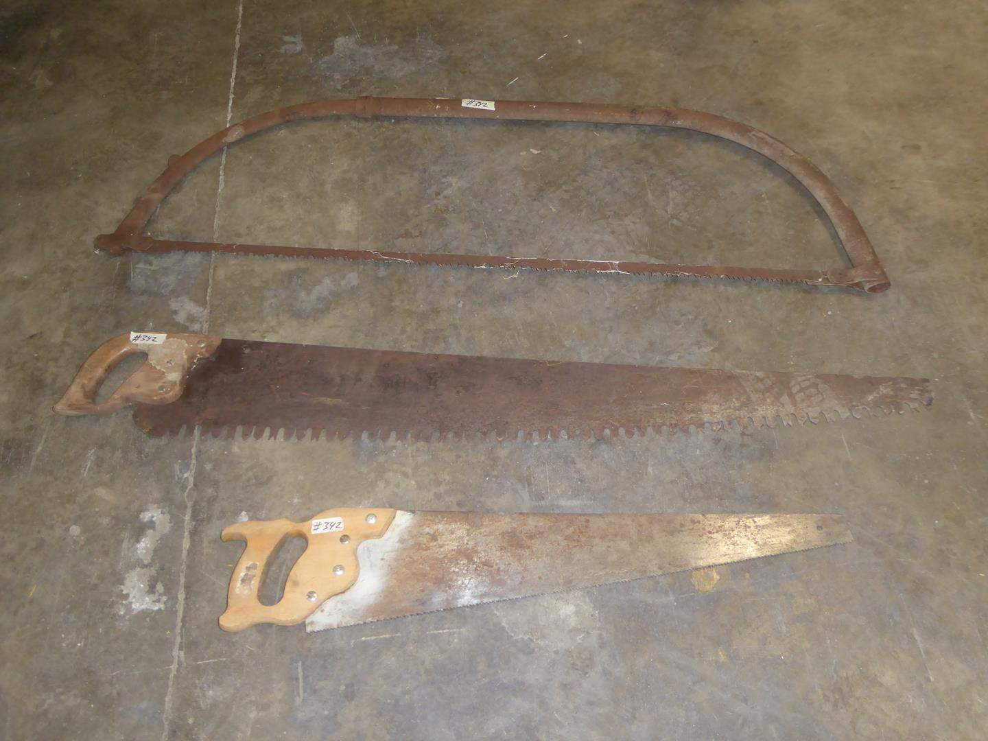 Lot # 342 - Large Vintage Bow Saw & Two Hand Saws (main image)