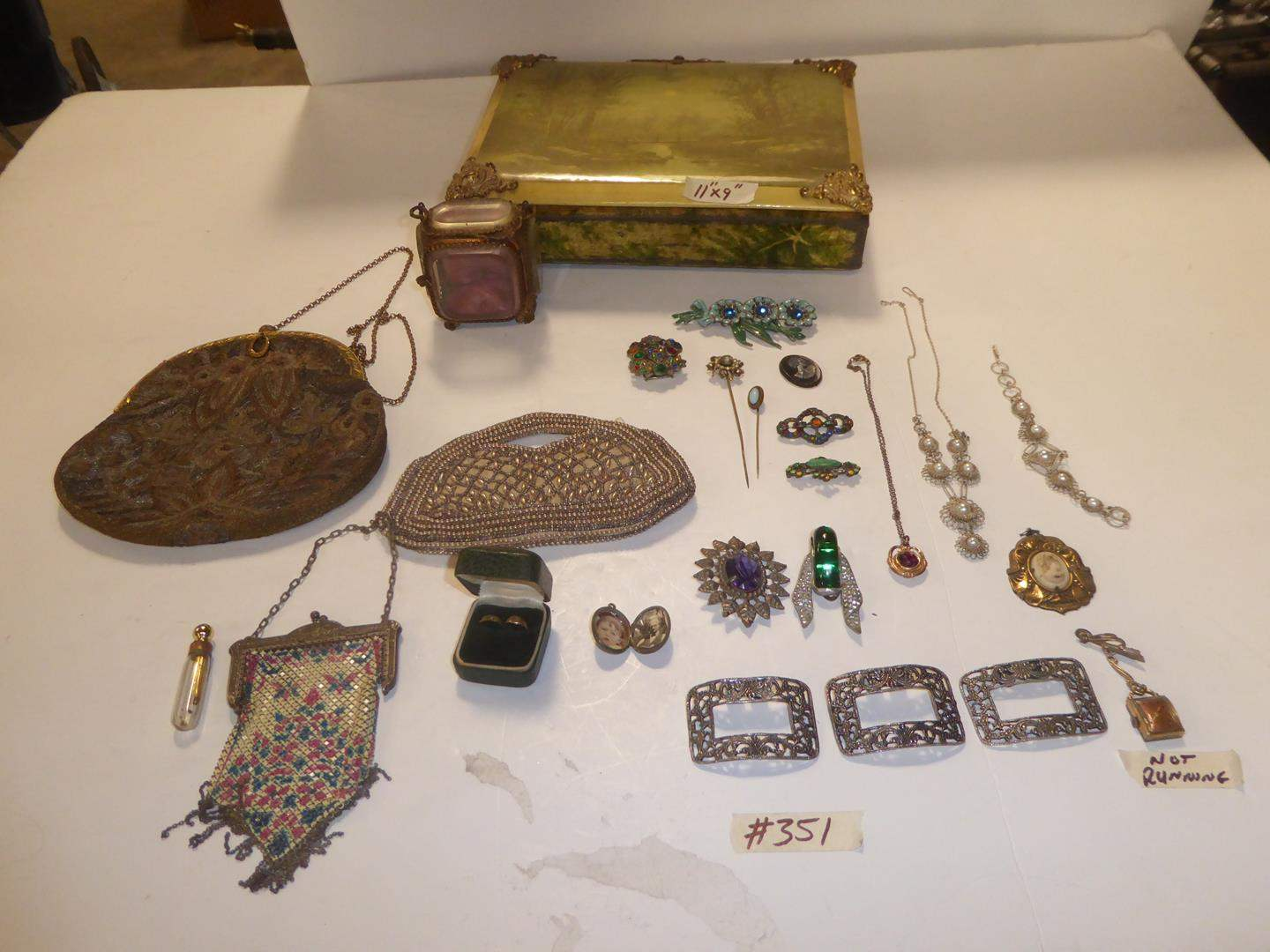 Lot # 351 - Vintage Victorian Purses, Baby Rings, Lockets, Hat Pins, Brooches, Shoe Clips & Victorian Photo Album (main image)