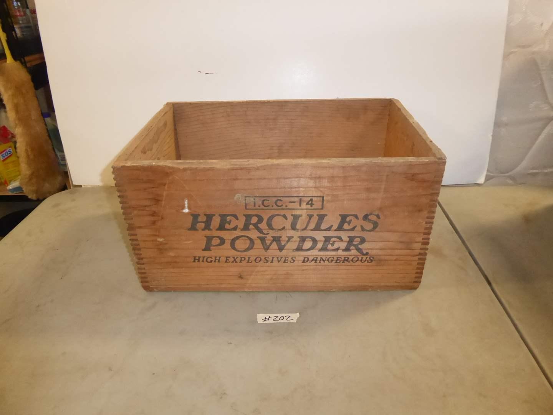 Lot # 202 - Vintage Hercules Powder Wooden Explosive Box W/Lid  (main image)