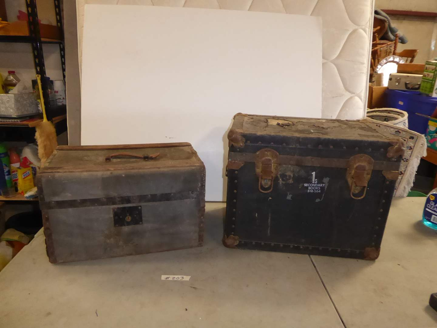 Lot # 203 - MC Lilley & Co. Small Trunk/Light Travel Suitcase & Other Vintage Trunk  (main image)