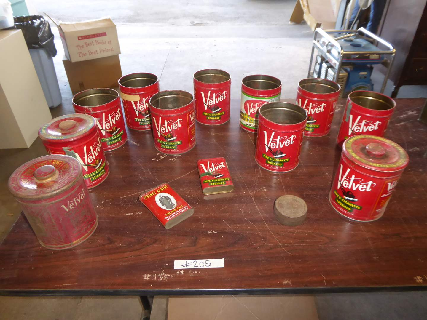 """Lot # 205 - """"Velvet"""" Pipe Tobacco Cans (Some W/Lids)  (main image)"""