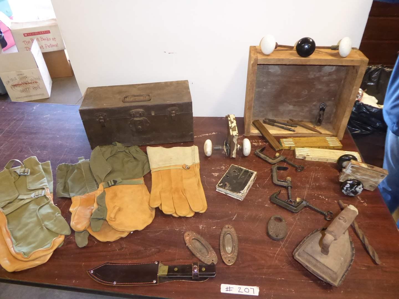 Lot # 207 - Kennedy Kits Tool Box, Gloves, Door Handles & Super Doll Knife  (main image)