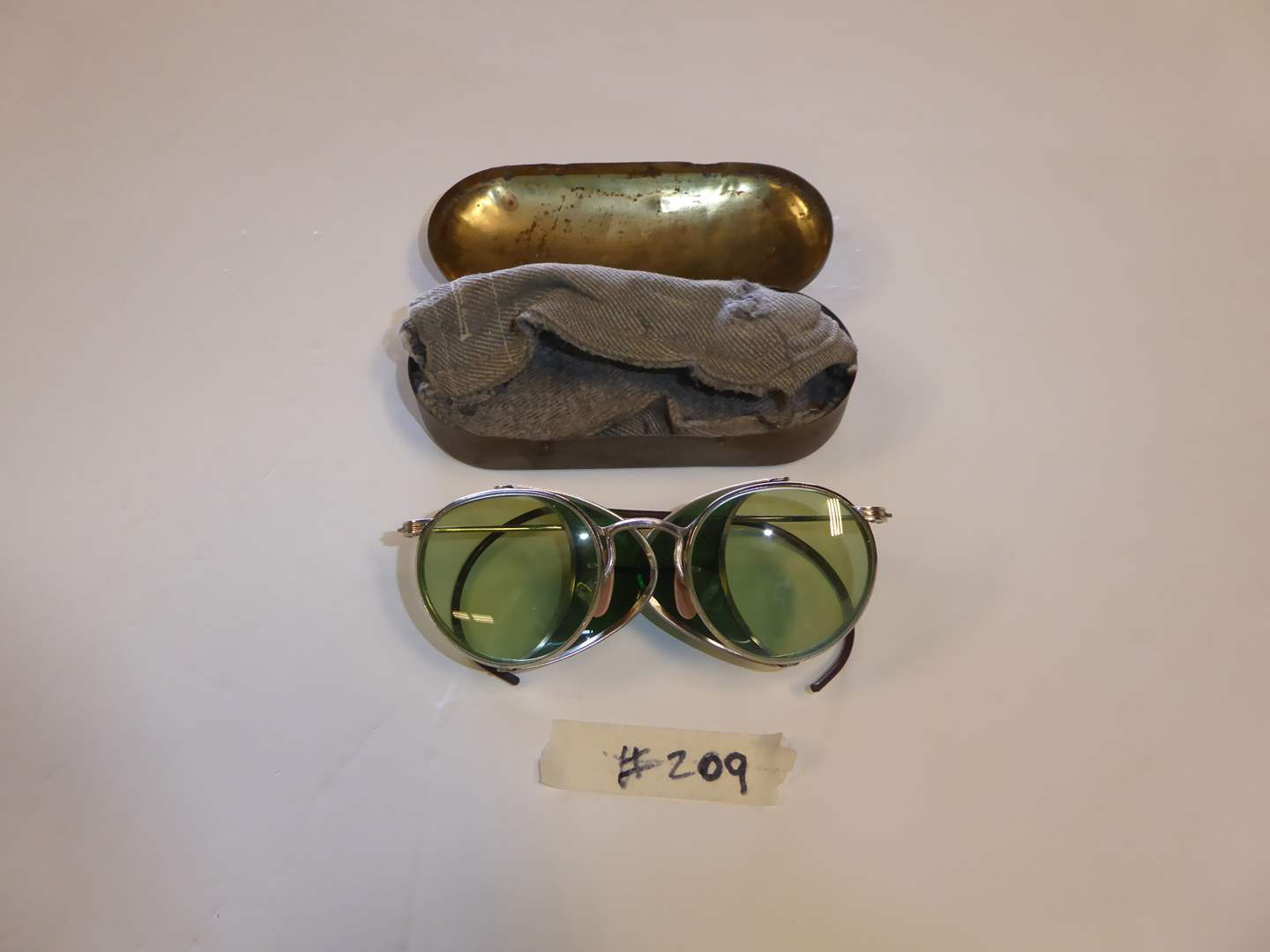Lot # 209 - Vintage Green Motorcycle Glasses/Safety Goggles AO Lenses (Willson Case)  (main image)