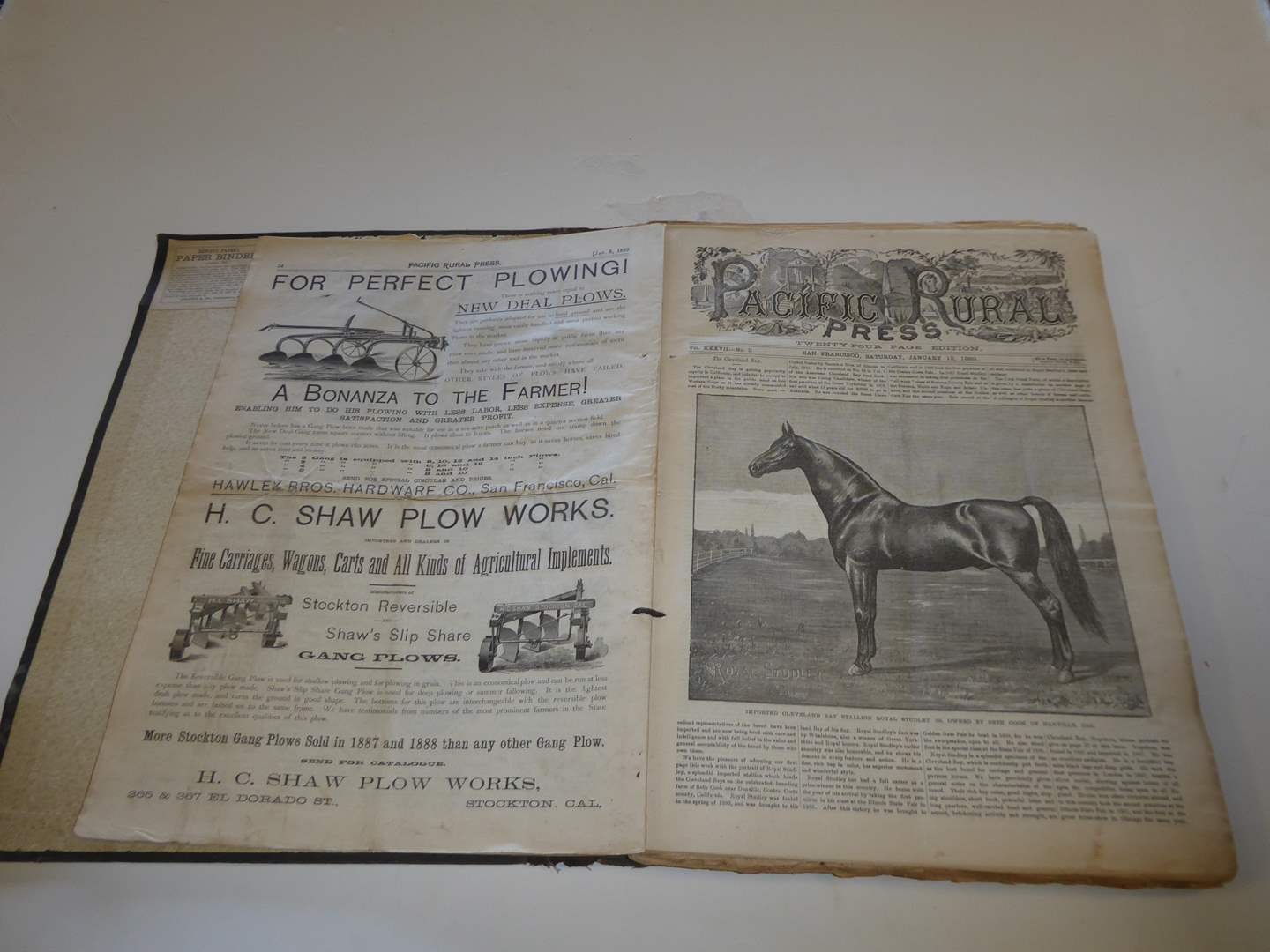 """Lot # 210 - Fabulous of History - Antique """"1889"""" Pacific Rural Press Papers In Binder  (main image)"""