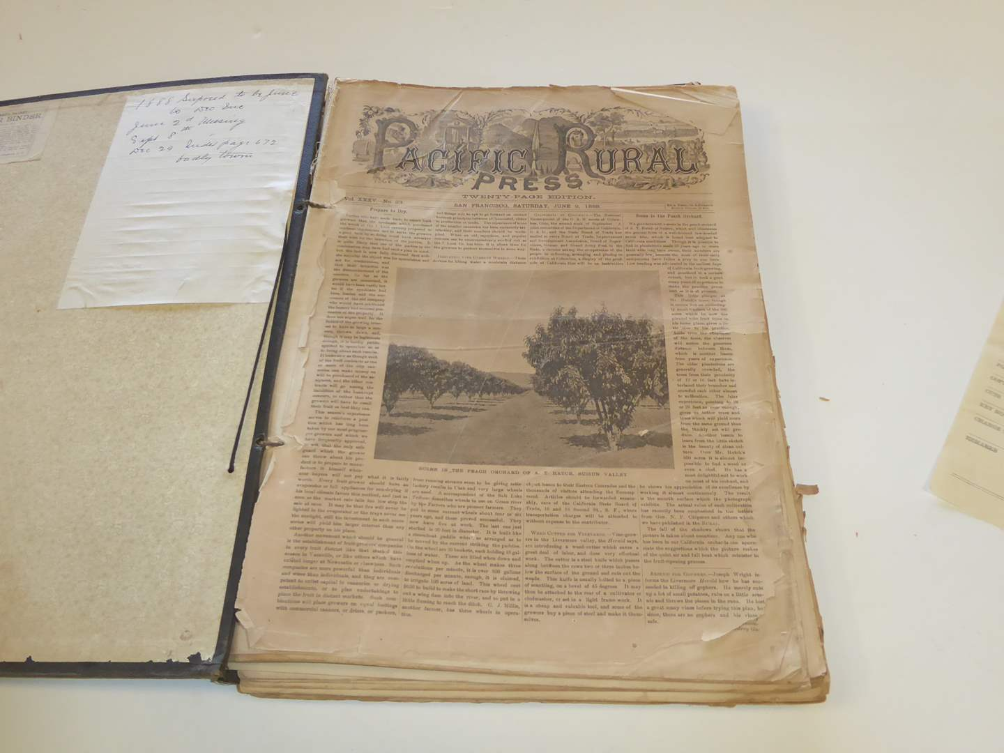 """Lot # 211 - Fabulous of History - Antique """"1888"""" San Francisco Pacific Rural Press Papers In Binder  (main image)"""