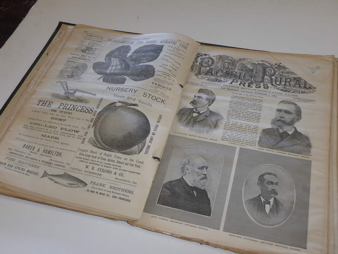 """Lot # 212 - Fabulous of History - Antique """"1889"""" San Francisco Pacific Rural Press Papers In Binder  (main image)"""
