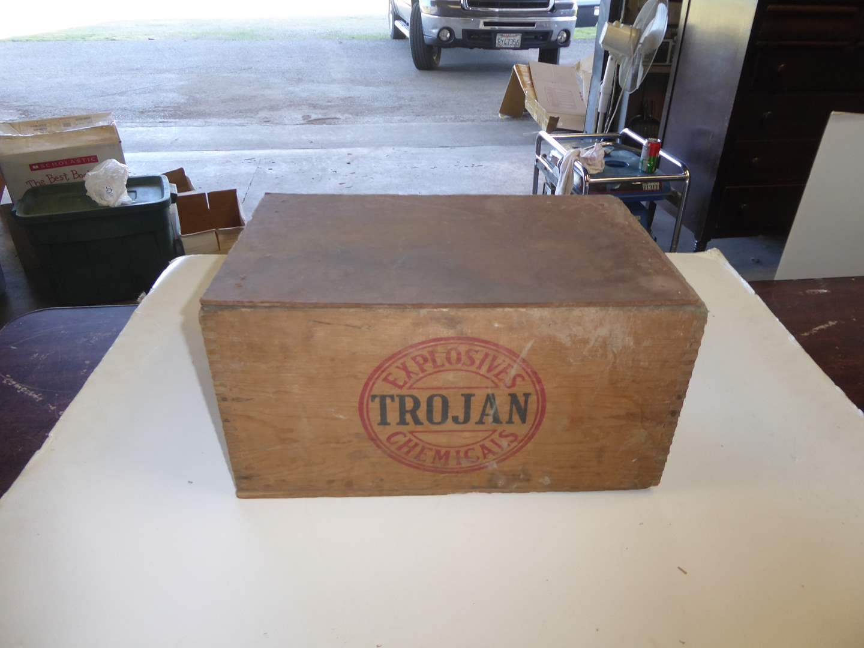 Lot # 213 - Vintage Trojan Wooden Explosive Box W/Lid  (main image)