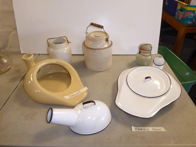 "Lot # 220 - ""Cesco"" Enamelware & Stoneware Chamber Pots & Stoneware Crocks (main image)"
