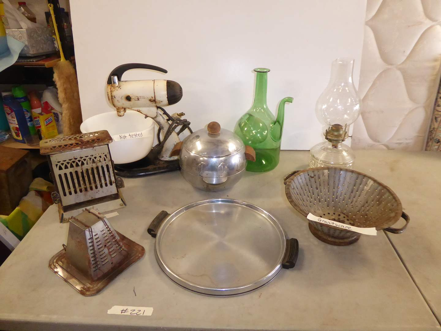 Lot # 221 - Vintage Toasters, Wine Decanter & Mixer (main image)