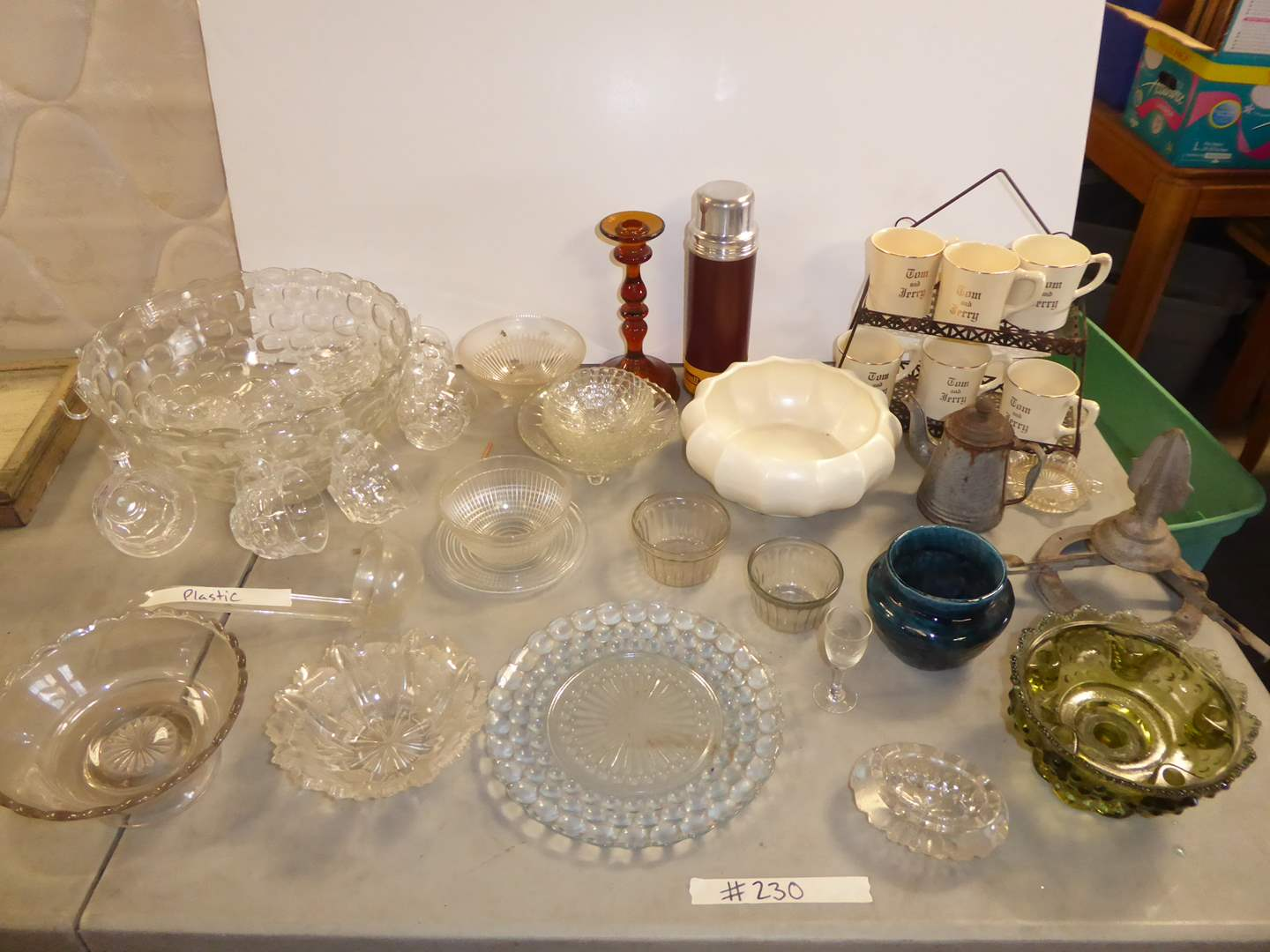 Lot # 230 - Glass Punch Bowl, Tom & Jerry Mugs & Other Glassware  (main image)