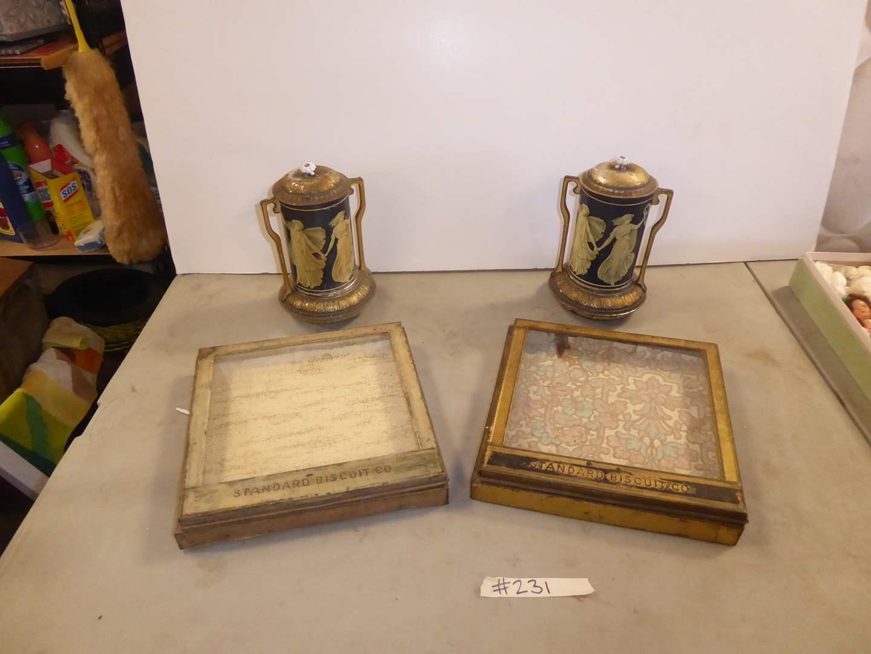 Lot # 231 - Two Vintage Standard Biscuits Cases (Metal & Glass) & Two Metal Macfarlane Tins  (main image)