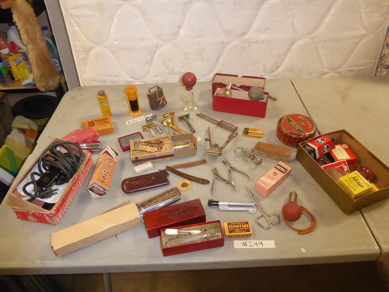 Lot # 249 - Collectibles Lot - Bakelite Shaving Brush, Ink, Razors & More   (main image)