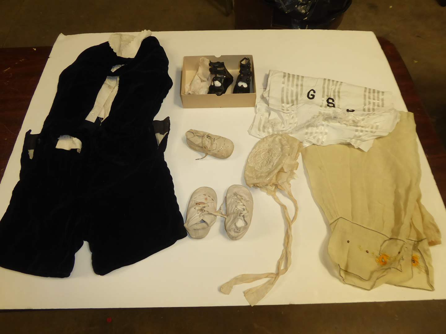 Lot # 253 - Velvet Baby Outfit, Shoes & Ladies Bloomer Pants   (main image)