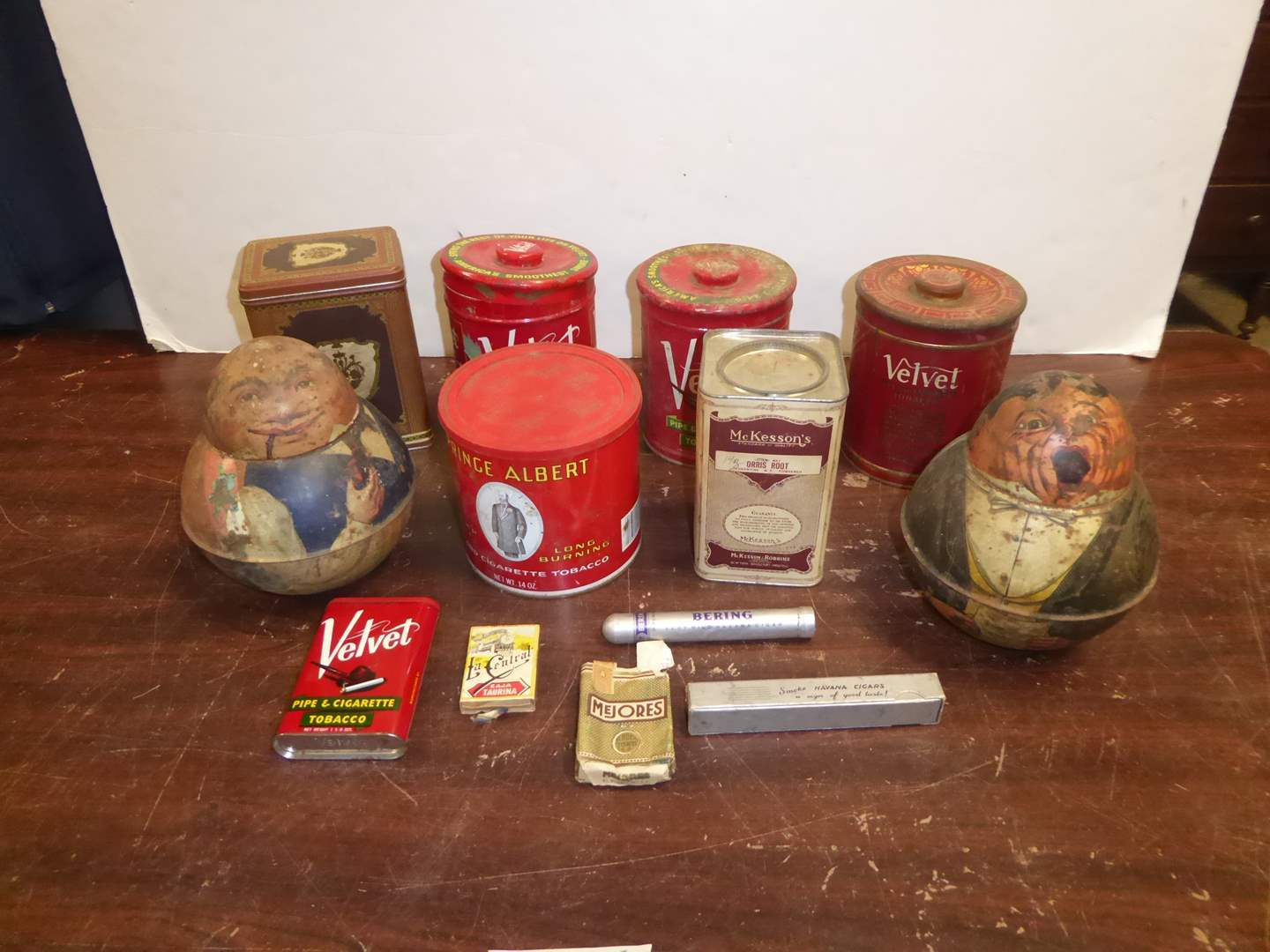 Lot # 258 - Two Vintage Roly Poly Tins & Other Tobacco Tins  (main image)