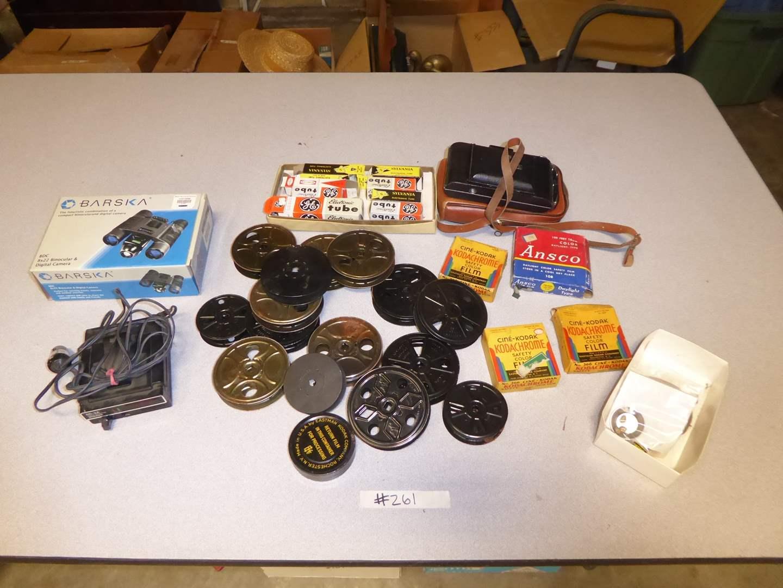 Lot # 261 - Film Reels, Electronic Tubes, Barska Binocular Camera & More   (main image)