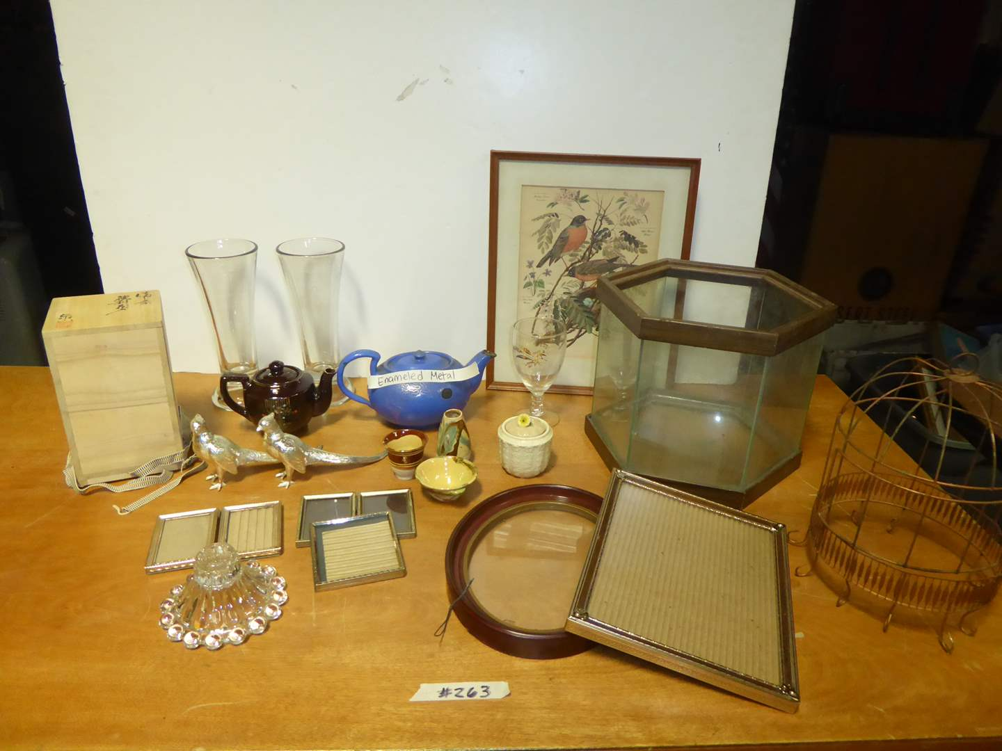 Lot # 263 - Terrarium, Enameled Metal Tea Pot & Other Collectibles  (main image)