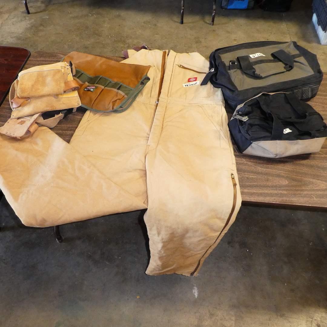 "Lot # 6 - Dickies Duck Bib Overalls (Mens Size 44""), Bucket Boss, Tool Bags and Tool Belt (main image)"
