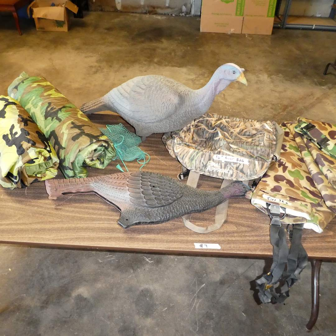 Lot # 9 -Ducks Unlimited Bob Allen Hunting Pants w/ Suspenders (Size 36x), 2 Camouflage Pancho Liner Blankets and Turkey Decoys (main image)