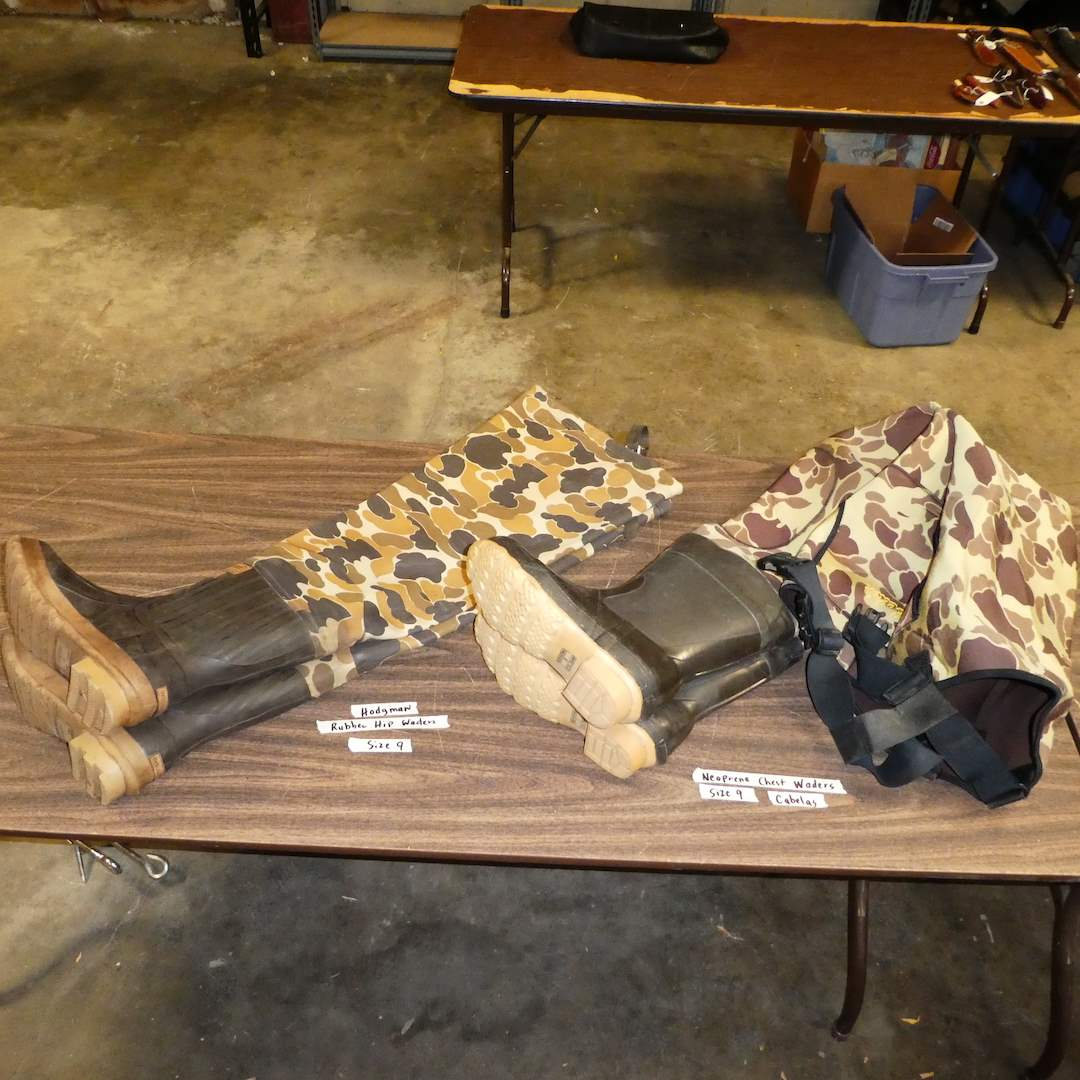 Lot # 17 - Cabela's Neoprene Chest Waders (Size 9) and Hodgman Rubber Hip Waders (Size 9) (main image)