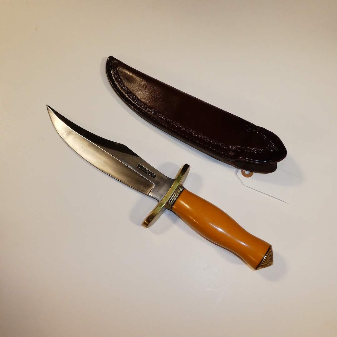 Lot # 25 - Randall Model 12 Bear Bowie Knife (Unsharpened)and Sheath (main image)