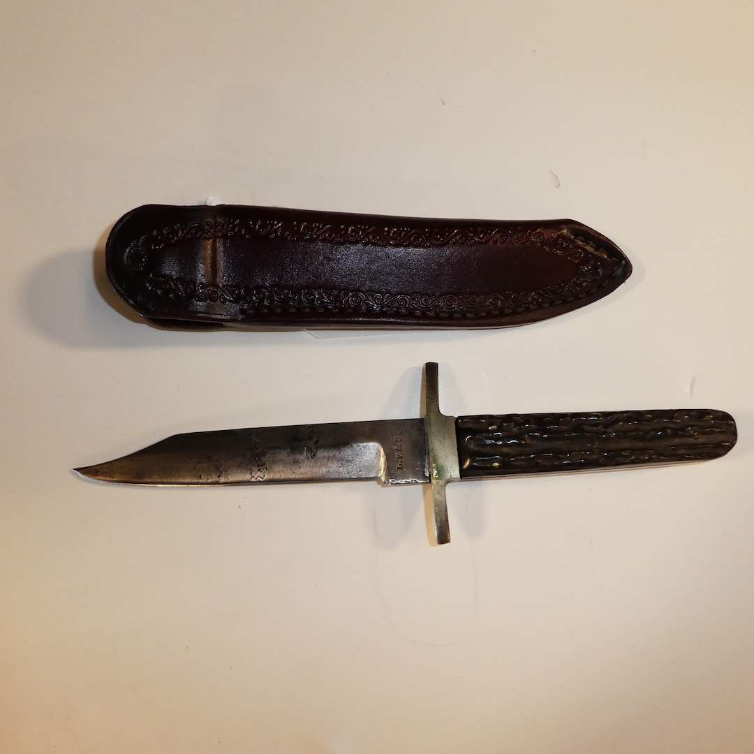 Lot # 33 - L.F. & C Stag Handle Bowie (Unsharpened) and Sheath (main image)