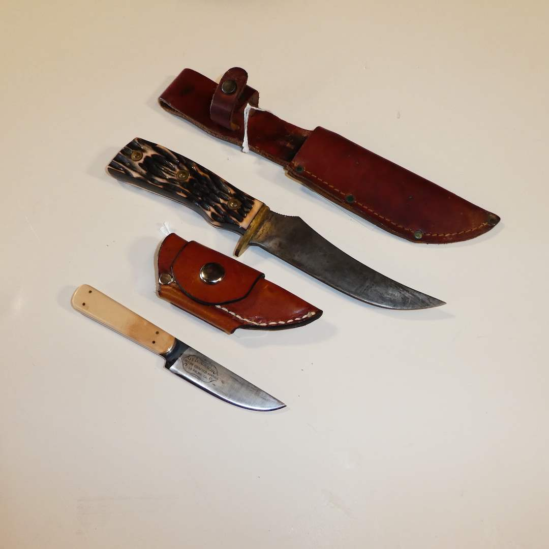 Lot # 34 - Larry O. Albach Skinning Knife and Imperial Bowie w/ Sheaths  (main image)