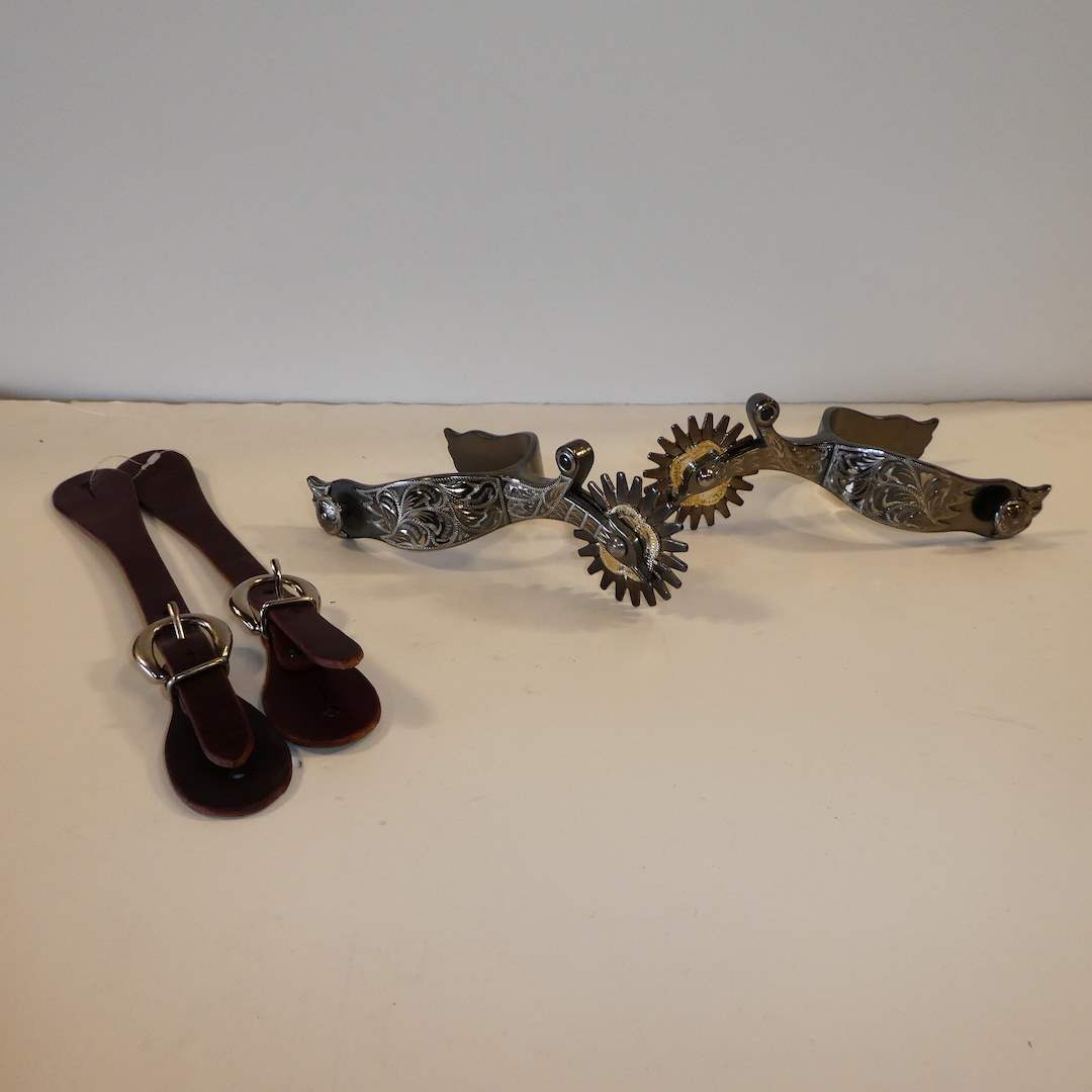 """Lot # 61 - Silver Mounted Cowboy Spurs with 2 1/4"""" Rowels (Colorado Saddlery Co. marked 86)  (main image)"""