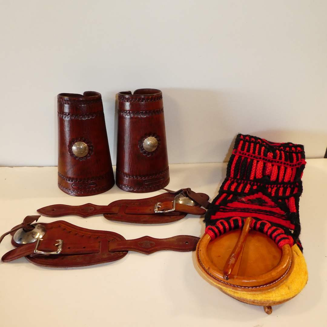 Lot # 66 - Leather Spur Straps and Wrist Cuffs  (main image)