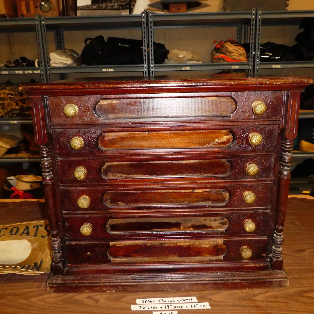Lot # 275 - Vintage Spool Thread Cabinet (Dovetail Drawers) (main image)