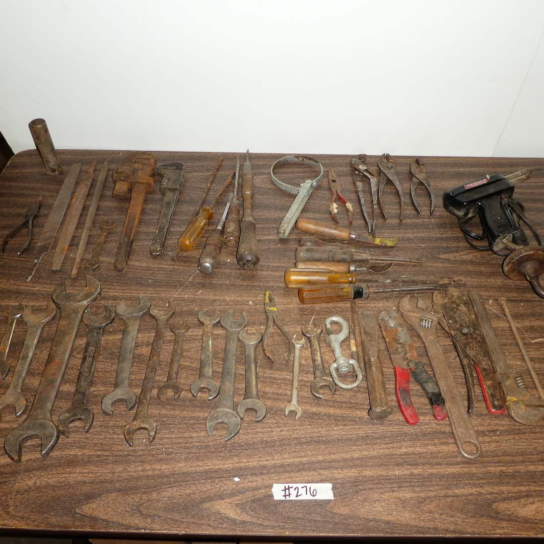 Lot # 276 - Variety of Tools (Wrenches, Soldering Gun and More) (main image)