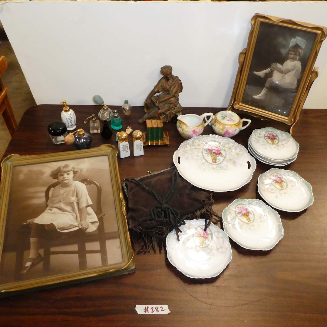 """Lot # 282 - Adorable Vintage Framed Photographs, Glass Perfume Bottles, Purse and  """"Celebrate"""" China From Germany (main image)"""