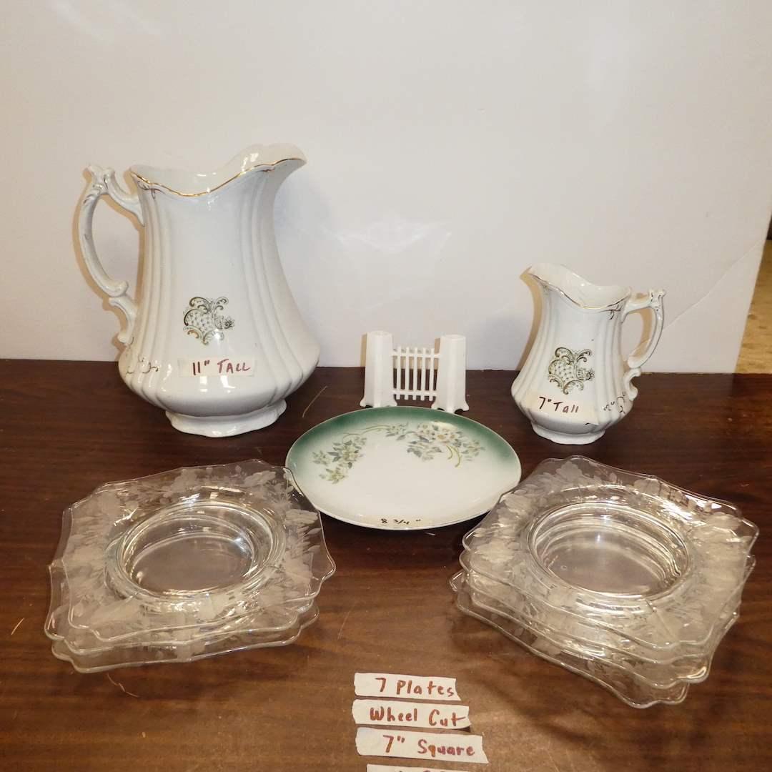 Lot # 283 - Vintage Porcelain De Terre John Edwards England Handle Pitcher and Creamer Pitcher w/ Square Etched Wheel Cut Plates (main image)