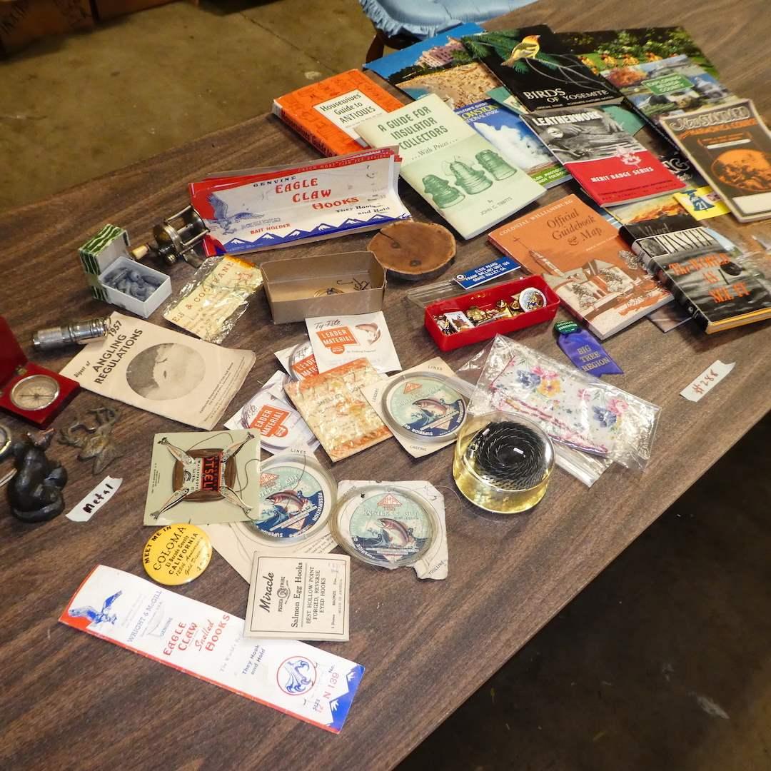 Lot # 288 - Vintage Books, Fishing Lines/ Hooks, Fishing Reel, Compasses & More! (main image)