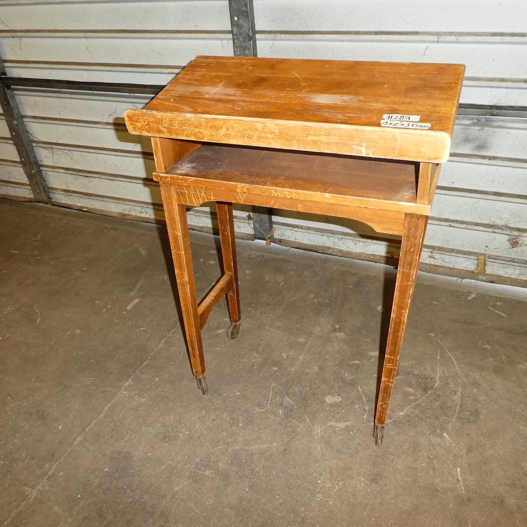 Lot # 289 -Cute Vintage Wood Rolling Podium Lectern (main image)