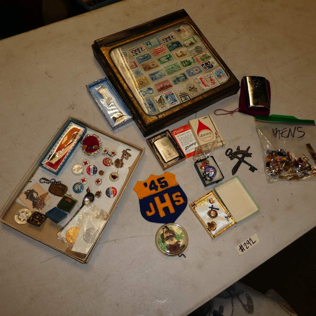 Lot # 292 -  Vintage Mens lot (Cuff Links, Pins, Stamps and More)  (main image)