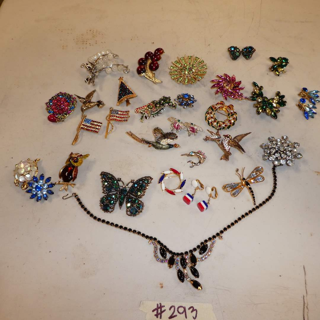 Lot # 293 - Vintage Rhinestone Brooches, Earrings and Necklace (main image)