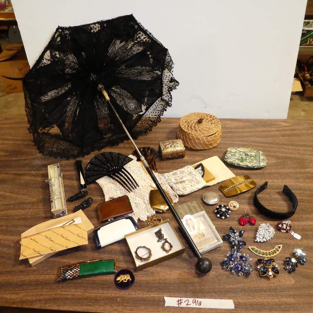 Lot # 296 - Adorable Vintage Womens Lot (Rhinestone Brooches,Metal Shoe Clips, Compact Make-Up, Parasol Umbrella and More) (main image)