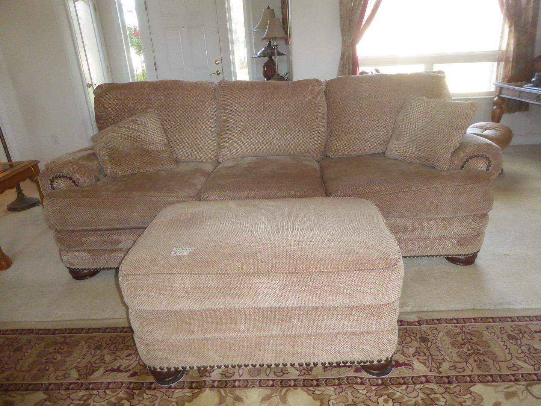 Lot # 101 - Beige Colored Sofa & Large Ottoman w/Nailhead Accents (main image)