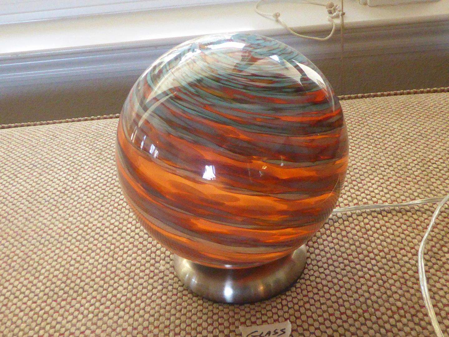 Lot # 113 - Amber & Blue Swirl Hand Blown Glass Round Lamp (main image)