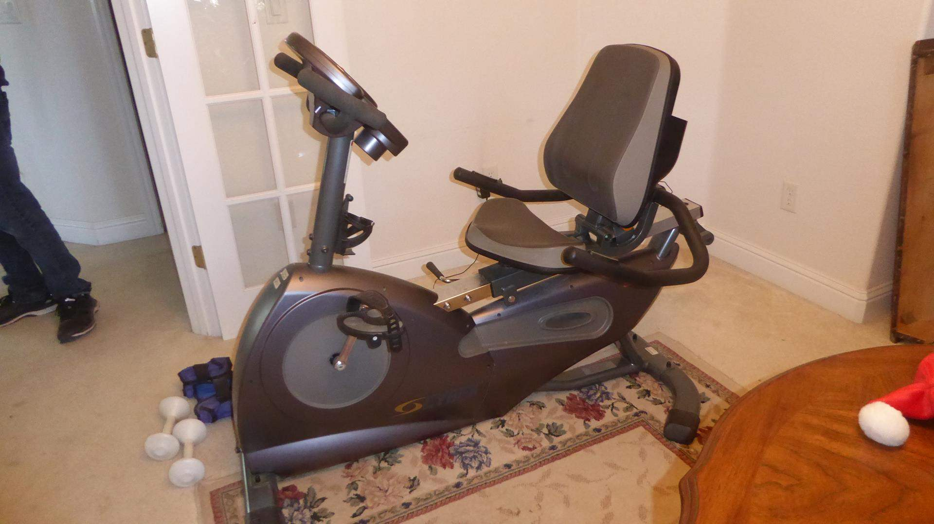 Lot # 127 - Cybex CR 350 Recumbent Bike & Exercise Weights (main image)