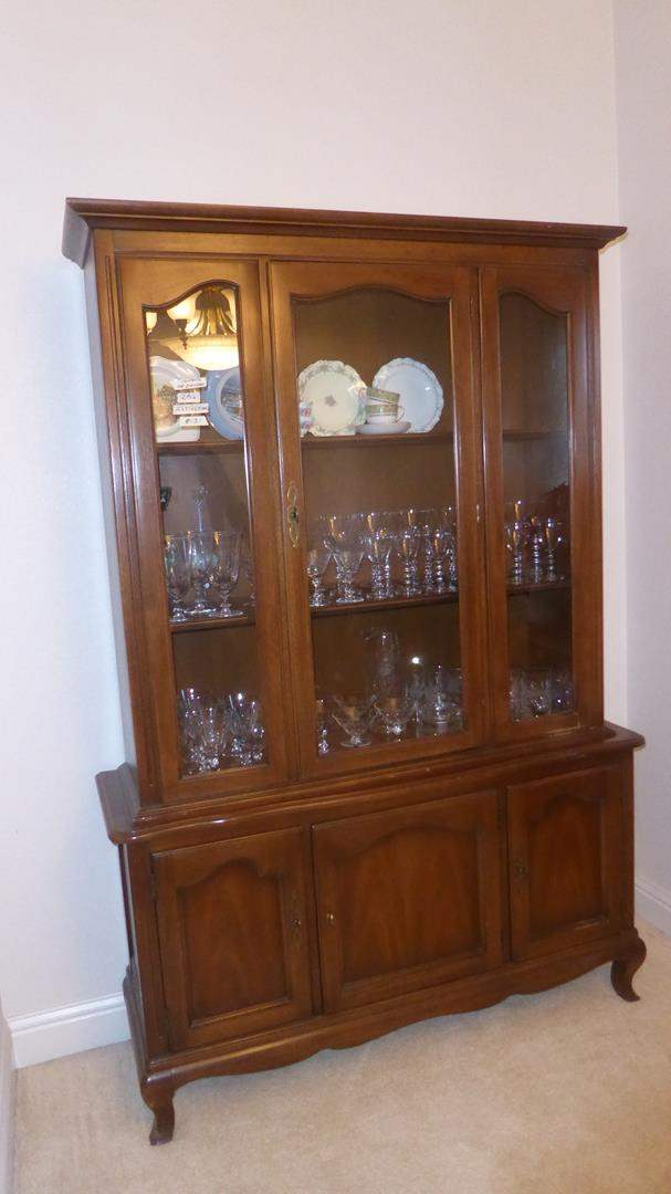 Lot # 131 - Vintage 'Drexel Heritage' Two Piece French Accent Wooden China Cabinet (main image)
