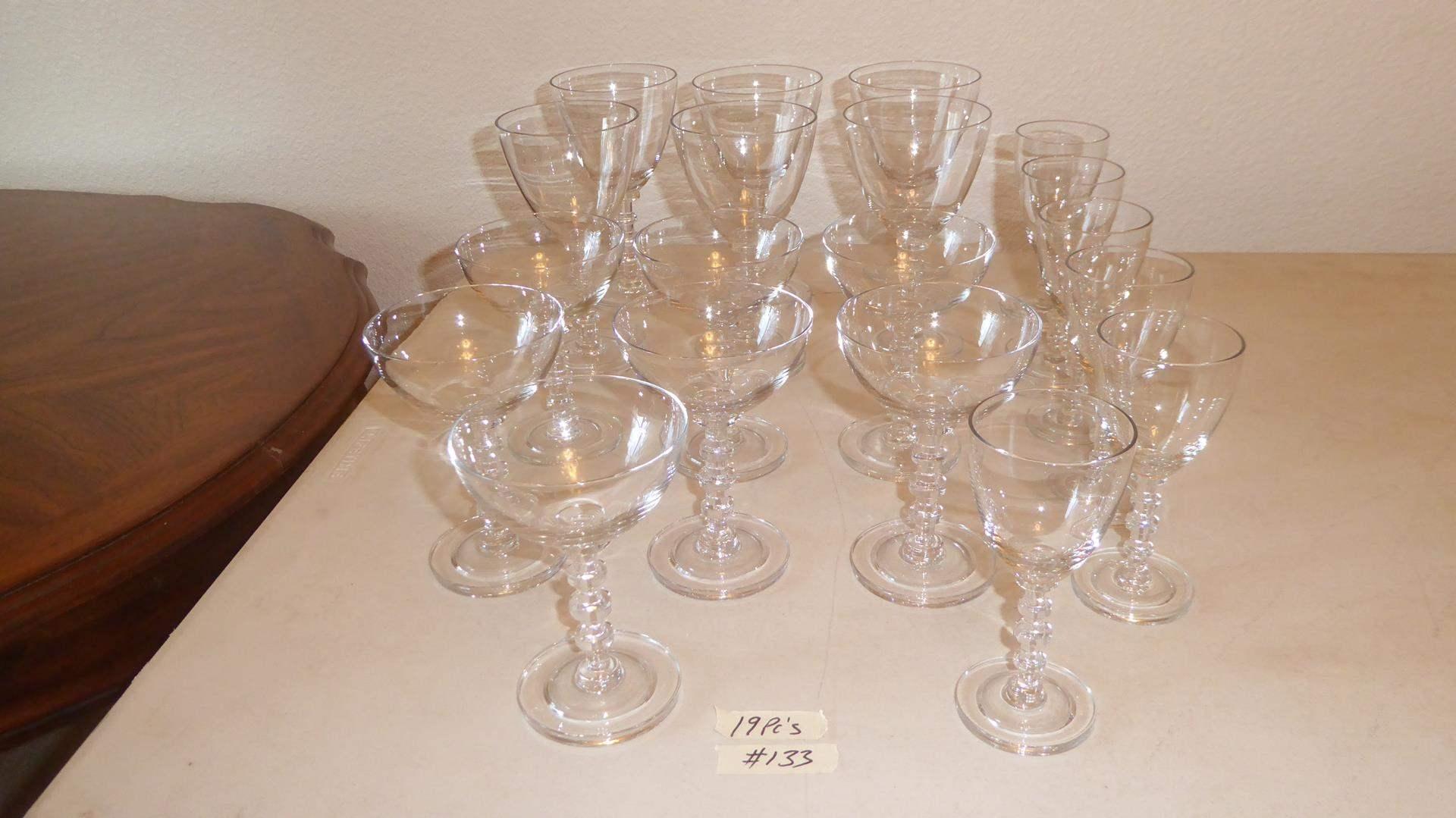 Lot # 133 - Beautiful Matching Glass Stemware - 19 Pieces (main image)