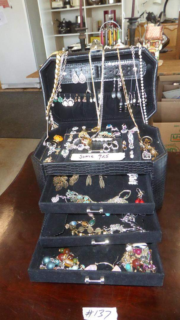 Lot # 137 - Jewelry Box FULL of Costume Jewelry - Some Sterling (main image)