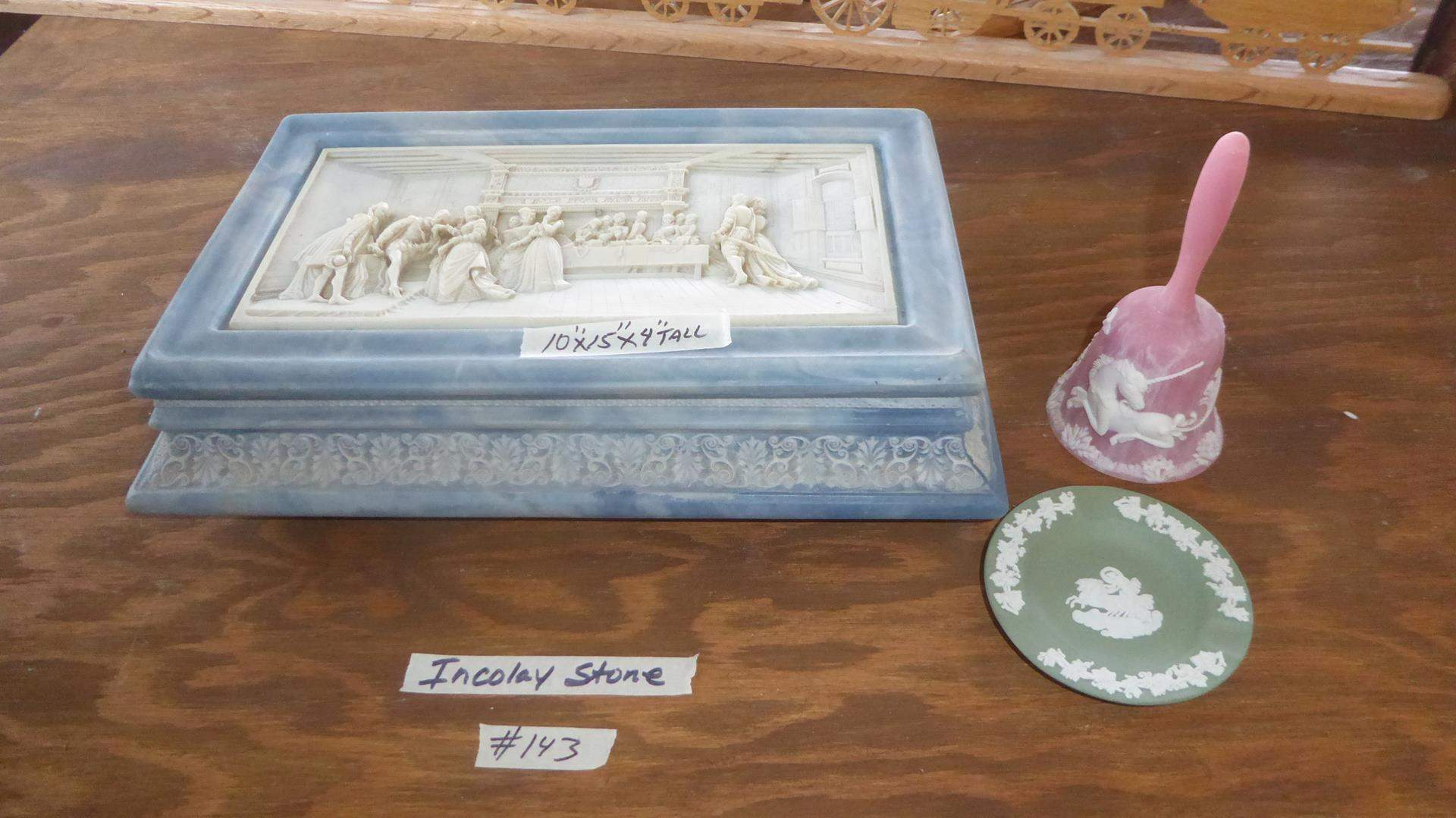 Lot # 143 - Vintage Hand Crafted Incolay Stone Box, Bell & Wedgwood Jasperware Ashtray (main image)
