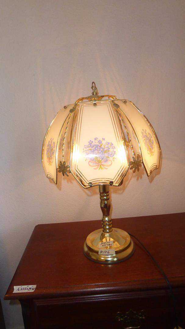 Lot # 146 - Metal w/Glass Shade Table Lamp (main image)
