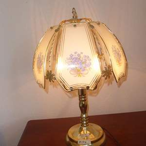 Auction Thumbnail for: Lot # 146 - Metal w/Glass Shade Table Lamp
