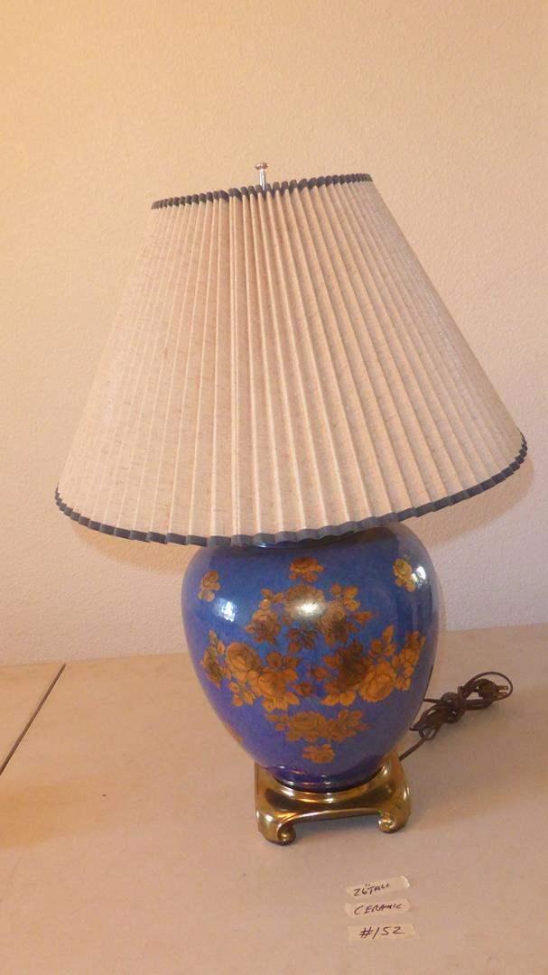 Lot # 152 - Blue & Gold Floral Ceramic Table Lamp (main image)