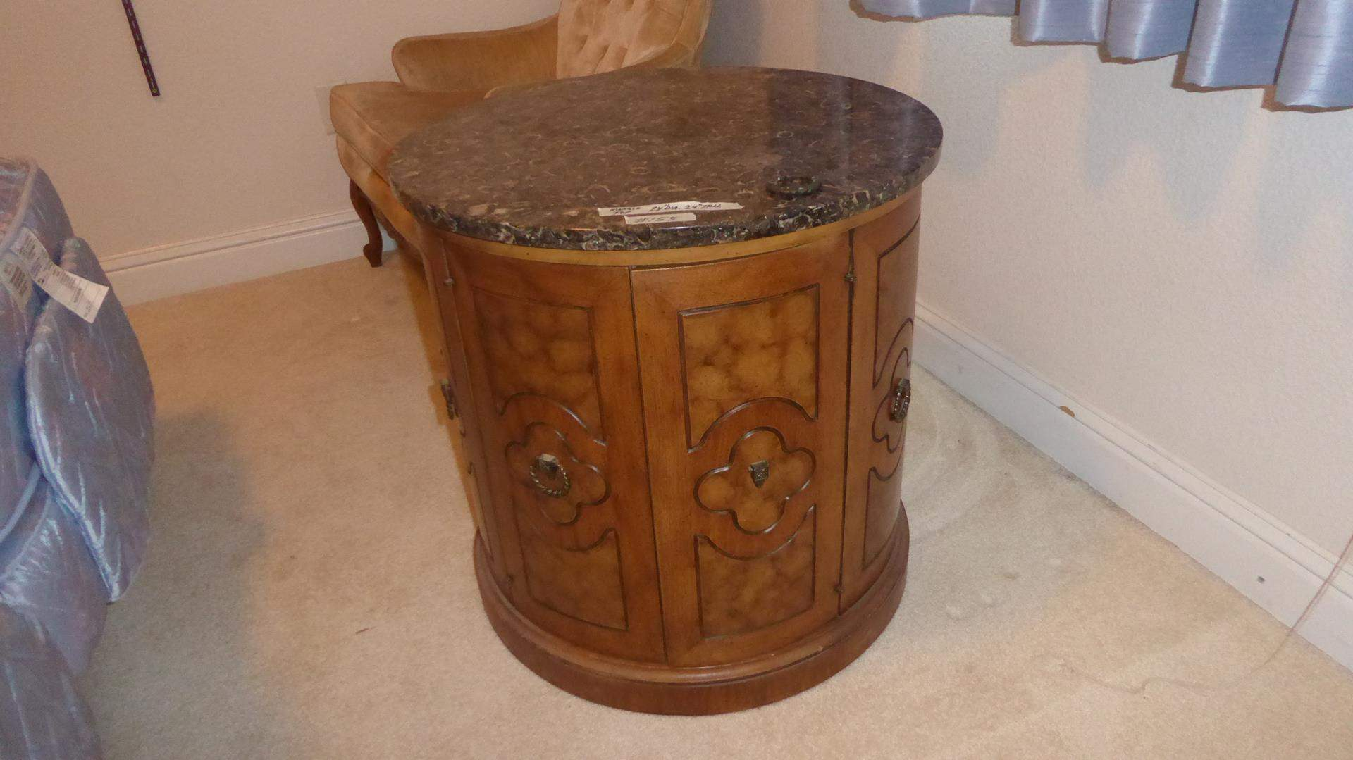 Lot # 155 - Marble Top Wooden Drum Side Occasional Table (main image)