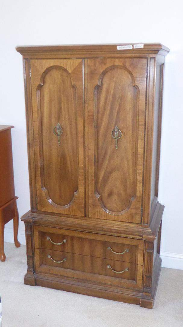 Lot # 167 - Vintage Solid Wood 'Hickory Manufacturing Co.' Highboy Chest (dovetailed drawers) (main image)